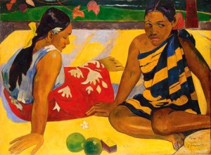 Paul Gauguin, Parau api, 1892, Gibt's was Neues? Quelles nouvelles?, Öl auf Leinwand, 67 x 91 cm, Gemäldegalerie Neue Meister, Staatliche Kunstsammlungen Dresden; Foto: Jürgen Karpinski