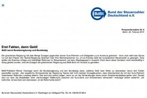 Pressemitteilung Bund d. Steuerzahler