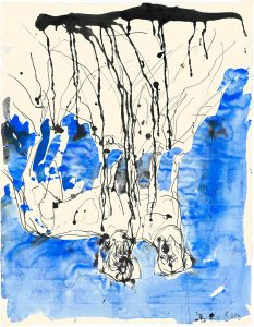 Trauerhunde Künstler, Beteiligte: Georg Baselitz Entstehungszeit: 2010 Mat. / Technik: Aquarell und Tusche Masse: 66 x 51.2 cm Creditline: © Georg Baselitz 2018 Photocredit: Jochen Littkermann, Berlin