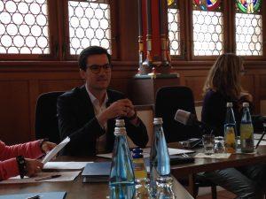Freiburgs OB Martin Horn heute bei der Pressekonferenz 100 Tage im Amt