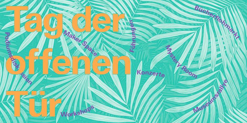 Das Bild zeigt eine Grafik mit Infos zum Tag der offenen Tür des ZKM in Karlsruhe