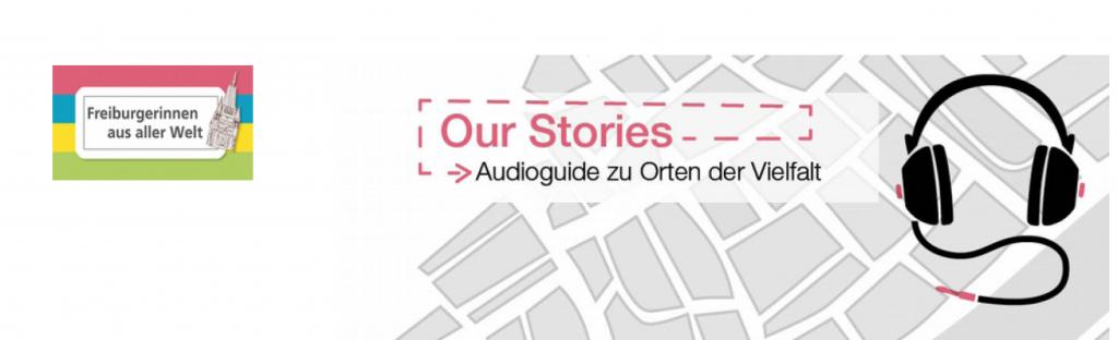 Freiburgerinnen aus aller Welt stellen ihren Audioguide vor. Hier das Logo