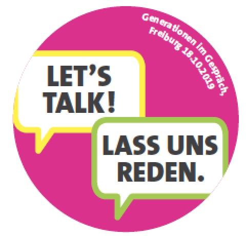 """Button """"Let's talk - Lass uns reden"""""""