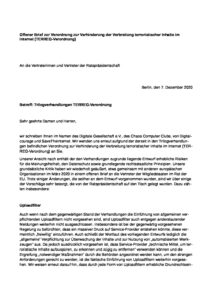 Offener Brief zur Verordnung zur Verhinderung der Verbreitung terroristischer Inhalte im Internet (TERREG-Verordnung)