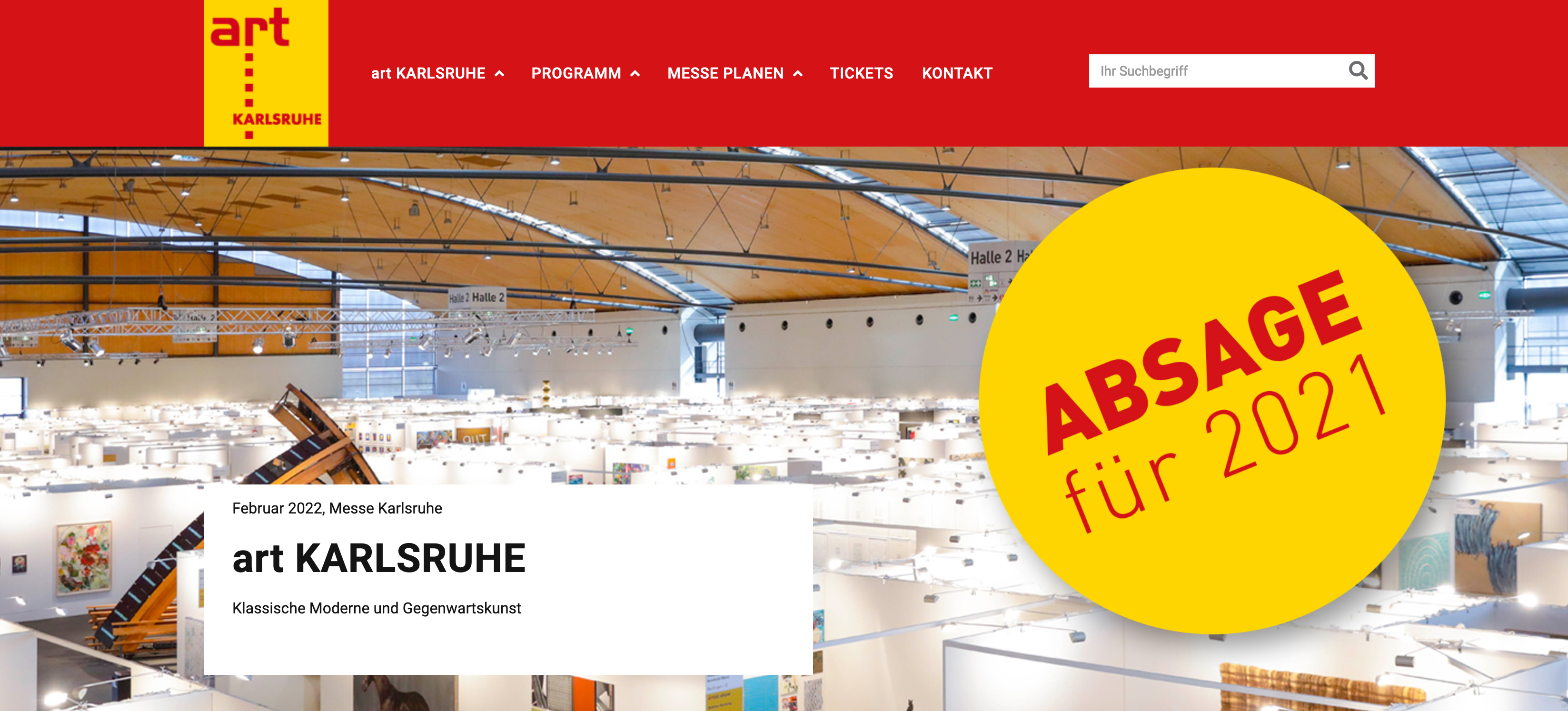 Screenshot von der Website ART Karlsruhe