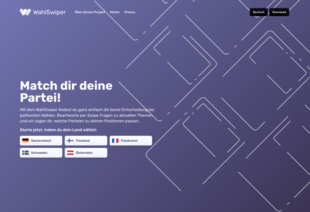 Das Bild zeigt die Startseite von WahlSwiper